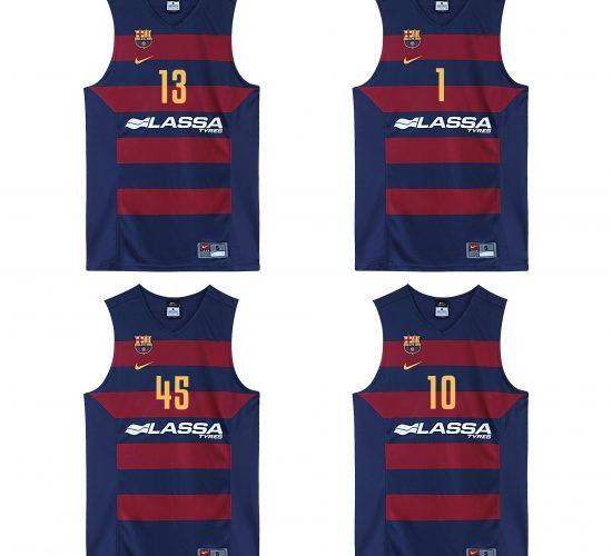 Pack de maillots de basket officiels équipe de Barcelone